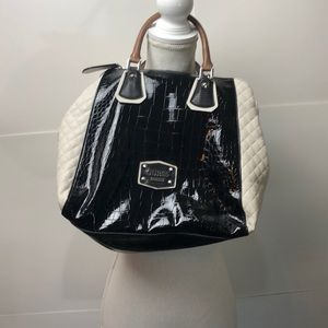 Guess Handbag Tote Black and Grey Faux Leather